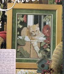 Cat In A Garden Window Cross Stitch Pattern Animal Cross Stitch