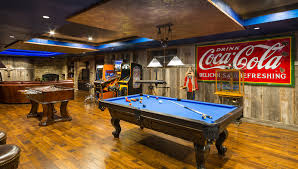 gameroom lighting. Dazzling Coca Cola Refrigerator In Family Room Rustic With Gameroom Next To Barnwood Alongside Industrial Design And Pool Table Lighting E