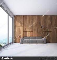 Intérieur Du Mur En Bois Salle De Séjour Avec Un Canapé Gris Doux Et Une  Lampe. Une Fenêtre Panoramique Avec Une Vue Magnifique De La Montagne.  Rendu 3D ...