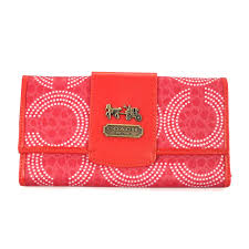 Coach Dot Logo Large Red Wallets ECX