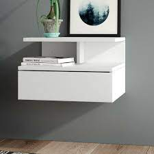 white shelf and drawer bedside table