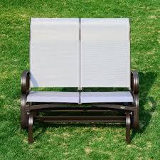outsunny double seat glider garden bench outdoor rocking porch chair patio furniture brown beige