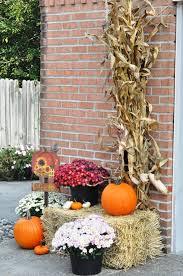 Outside Fall Decor Outdoor Fall Decor Mums Hay Bale Pumpkins Harvest Sign Corn
