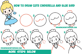 drawing step by step for beginners. Simple Step How To Draw Cute Chibi  Kawaii Cinderella U0026 Blue Bird Easy Step By  Drawing Throughout By For Beginners