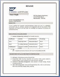 Academic Resume Sample Pdf Lovely Sap Sd Resume Format Resume