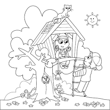 Small Picture nice Arbor Day Treehouse Coloring Page And Tree Song Kiboomu