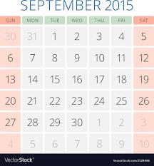 Calendar 2015 September Design Template Royalty Free Vector