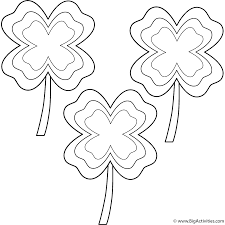 Four Leaf Clovers with multi-border (3 clovers) - Coloring Page ...