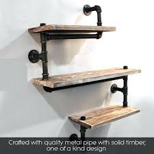 pipe wall shelf mounted industrial rustic urban iron 4 tiers wooden board shelving home restaurant kitchen