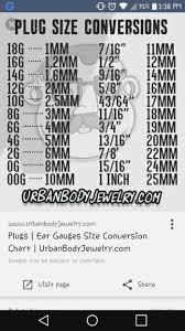 Plug Size Chart Earlobe Gauge Size Chart Gages Sizes Ear Stretch Chart