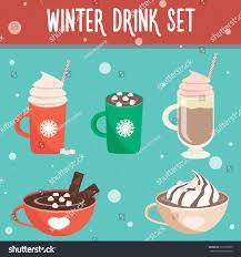 hot chocolate with whipped cream clip art. Wonderful Art Winter Hot Drink Set Flat Design Chocolate Coffee Cocoa With Whipped  Cream Inside Hot Chocolate With Whipped Cream Clip Art