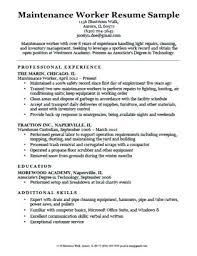 Sample Resume For Maintenance Worker Airexpresscarrier Com