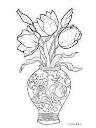 花瓶の中のチューリップの塗り絵 季節の花四季の花の大人の塗り絵