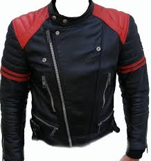 mens er leather jacket men black and red leather jacket with quality zipper