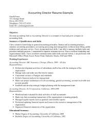 Sample Resume A Good Objective For A Resume Accounting Director