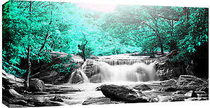 image is loading large waterfall mint green trees box canvas wall  on mint green canvas wall art with large waterfall mint green trees box canvas wall art picture