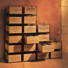 the rest are from italy australia chile and spain below is a wine rack for wooden wine crates with brandings on the front short side