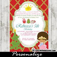 Christmas Birthday Party Invitations Princess Tea Party Christmas Birthday Invitation Red Gold Glitter