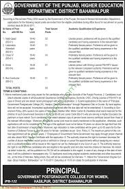 higher education department bahawalpur jobs on  higher education department bahawalpur jobs