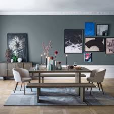 dining room table with bench against wall. West Elm Dining Room With Grey Feature Wall And Gallery Pink Artworks Table Bench Against W