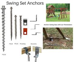 swingset anchors to secure metal and wooden swing sets into the ground without concrete