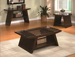 wood coffee table set. Midori Dark Brown Finish Wood Sofa Console Entry Table With Lower Shelf And Glass Top Slatted Design Coffee Set 1