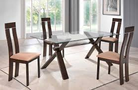 dining sets with chairs sophisticated rectangular in wood clear glass top dining set furniture