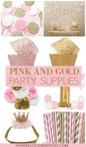 Pretty pink and gold party supplies! http://sharingcelebrations.com/pretty