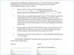 sponsorship agreement sponsorship agreement form sponsorship agreement template sample