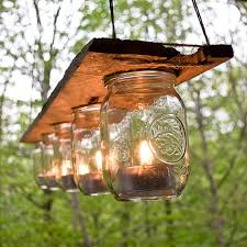 glass jar lighting. rustic wood and mason jar tea light chandelier glass lighting t