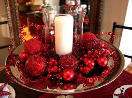 christmas table dressing ideas. Red Christmas Table Centerpiece With Glass Candle Holder And Balls Dressing Ideas