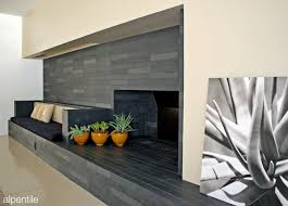 contemporary slate feature wall and fireplace installation