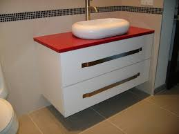 white bathroom vanity with red countertop and sink for corner bathroom sink ideas