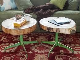 Sliced Log Coffee Table How To Make An Upcycled Table From Old Log And A Chair Base How