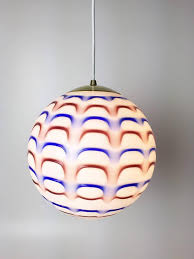 gorgeous pair of red white and blue murano art glass globe pendant lights from the