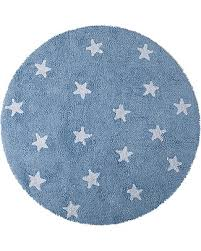 rug with stars. round machine washable rug with stars, light blue - 100% cotton (140cm diameter stars