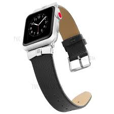 rhinestone decor genuine leather watch band for apple watch series 4 40mm series 3