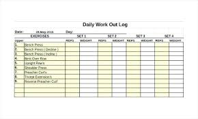 Training Printable Log Employee Excel Workout Template Free Exercise