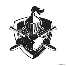 Knight Helmet With Two Swords And Shield Isolated On White Backg - Stock -  GamesAgeddon