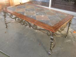 Grey And Brown Tile Top Rectangle Table With Wrought Iron Frame And Leg.  Entrancing Granite Top Coffee Table Design Ideas. Nu Decoration Inspiring  Home ...