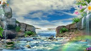 Beautiful 3d Animation With Mountain River 3d Background