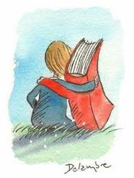 child and book arm in arm