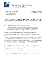 """LEAGUE OF WOMEN VOTERS URGES """"VOTE NO"""" ON """"MOVE SEATTLE"""" LEVY THE LEAGUE OF  WOMEN VOTERS OF SEATTLE-KING COUNTY"""