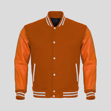 orange faux leather sleeves orange wool varsity jacket