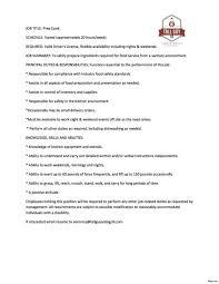 Template Food Preparer Job Description Chef Duties Uk Cooking Resume