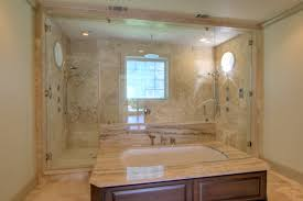 Paneled Tub w/ Walk-Through Double Shower bathroom