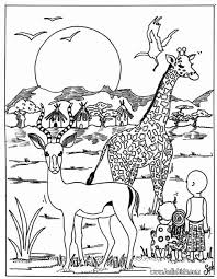 Small Picture Giraffe and antelope coloring page Dierentuindieren Kleurplaten