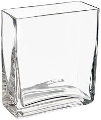 wgv clear rectangle block glass vase 2 by 5 by 6 inch