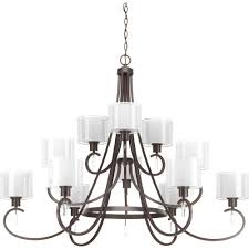 progress lighting invite collection 12 light antique bronze chandelier with shade