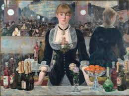 a photograph of the painting a bar at the folies bergère a woman stands